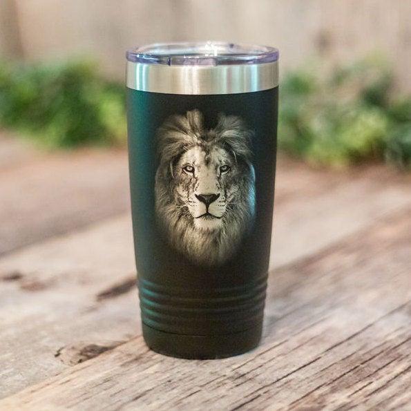 Lion Portrait Engraved Stainless Steel Tumbler Lion Travel Mug Gift For Lion Lovers 3c Etching Ltd
